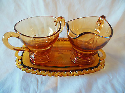 Vintage Indiana Glass Co. Amber Glass Cream & Sugar Set w/ Tray - Very Good (#4)