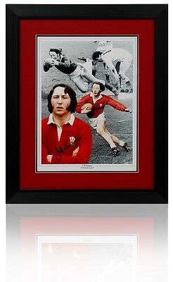 Lrg JPR WILLIAMS Wales Hand Signed Framed Rugby Montage AFTAL Photo Proof