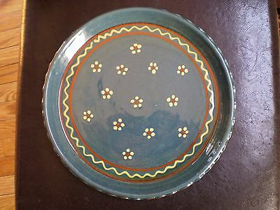 Handcrafted Folk Art Blue Redware Plate