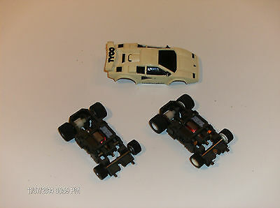 afx scale TYCO; NICE WHITE LAMBO WITH 2 CHASSIS