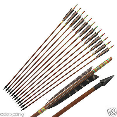 12Pcs Bamboo Arrows Eagle Feather Archery Recurve Bow Vintage Broadheads Hunting