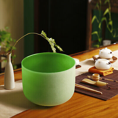 """Green F Heart Chakra Frosted Quartz Crystal Singing Bowl 8""""+Mallet+O-ring"""