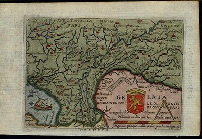 Geldria Westphalia Germany 1655 Ortelius rare old Turrini miniature map