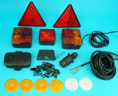 Trailer Lamp Set with Reflectors 7 Core Cable & Clips Junction Box & 7 Pin Plug