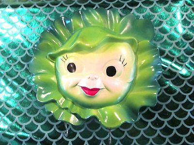 Vintage ANTHROPOMORPHIC Lettuce Cabbage Head Wall Plaque Red lipstick veggie