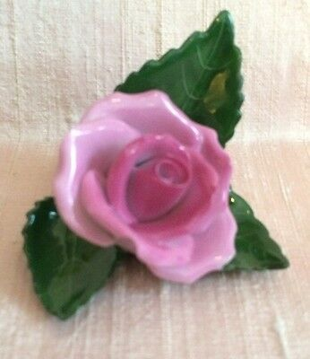 Herend of Hungary Pink Rose on Leaf Place Card Holder