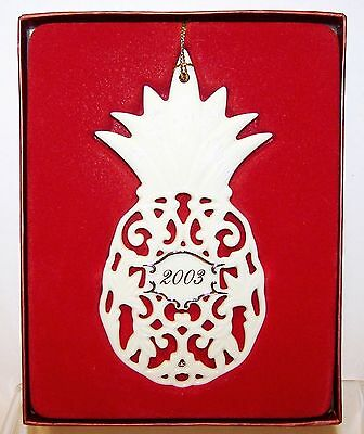 NEW 2003 Dated LENOX Detailed PINEAPPLE Ornament With Gold Trim in Box Org $36