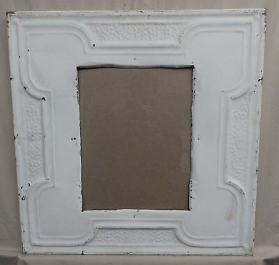 Antique Repurposed TIN CEILING Metal 11x14 White Picture Frame Recycled 4131-15