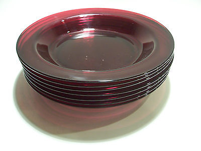 NICE SET OF 7 RUBY RED ARCOROC FRANCE RIMMED BOWLS FLAT SOUP