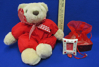New Valentine Hallmark Plush Delivery Bear & Magnet Frame In Red Heart Gift Box