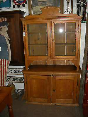 1790's Shaker Style ,Pine Cupboard Dry Sink w/ Dovetailed Gallery, Wooden Pegs