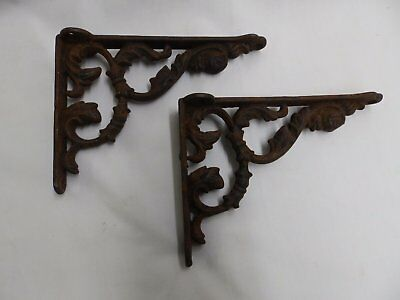 Antique Cast Iron Shelf Brackets Decorative Leafy Old Vintage Hardware 4146-15