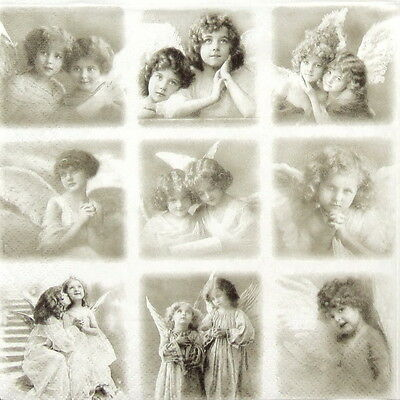 4x Single Lunch Party Paper Napkins for Decoupage Craft Vintage Angels