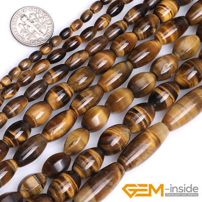 Natural Tiger's eye Gemstone Olivary Rice Beads For Jewelry Making Strand 15""