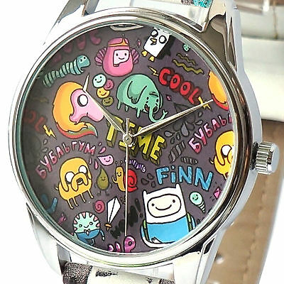 Adventure Time Watch Wrist Analog Deadpool Black Character Finn Movie New S Gift