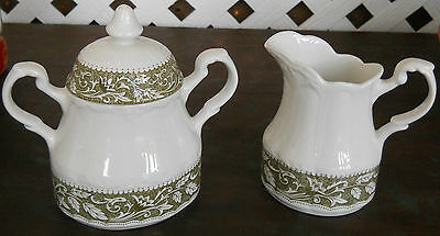 Vintage JG Meakin Sterling Colonial Sugar Bowl and Creamer - Green