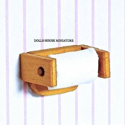 Wooden Toilet Roll Holder with Toilet Roll, Miniature. Doll House Accessory