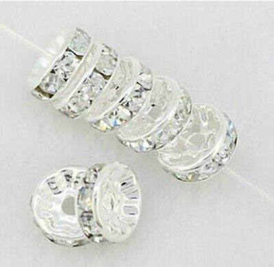 Free Shipping 20/100/500Pcs Silver Plated White Crystal Loose Spacer Beads 8mm