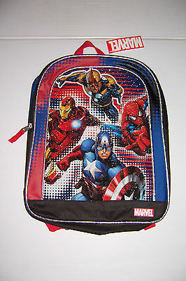 "Marvel Captain America Iron Man Spider-Man 15"" Boys School Backpack Nwt!"