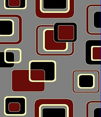 Contemporary Design with Squares Area Rug 5x8 & 8x11 Beige Black Brown Gray Red