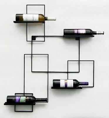 "Wrought Iron Wine rack ""Parallel"" WALL DISPLAY BOTTLE HOLDER"