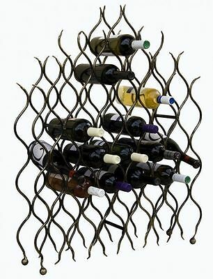 "Wrought Iron Wine rack ""Flame"" FLOOR STAND DISPLAY BOTTLE HOLDER"
