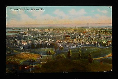 1909 Panorama View from the Hills Traverse City MI Grand Traverse Co Postcard