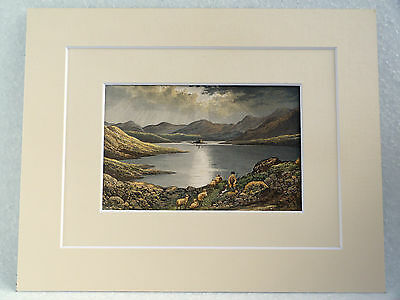 LOCH DOON VERY RARE SUPERB QUALITY ANTIQUE DOUBLE MOUNTED CHROMO PRINT 1882 10X8