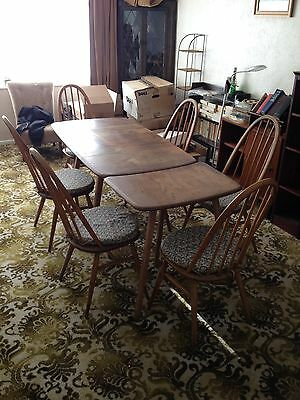 Post-1950 ERCOL LIGHT ELM DROP LEAF DINING KITCHEN TABLE, CHAIRS & SIDE TABLE