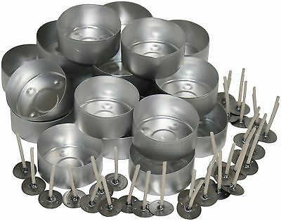 20 Aluminium Tealight Moulds plus 30 TL15 Pre Waxed Wicks. for candle making