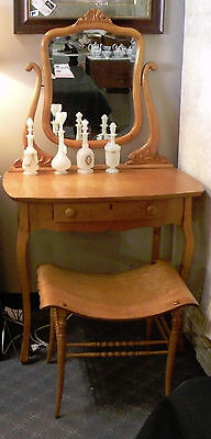 ANTIQUE MAPLE VANITY/DRESSING TABLE WITH BENCH