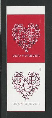 2015 #4955-4956 Imperf Love - Forever Hearts Pair Without Die Cuts MNH