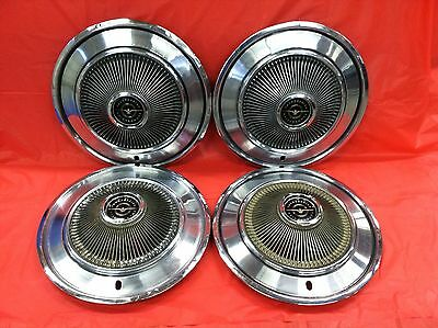 Set Of 4 VINTAGE 1973 Ford Thunderbird 15 Inch Hubcaps Turbine Style