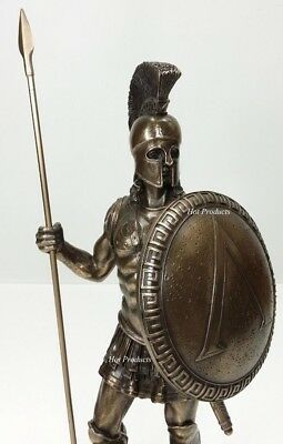"14"" SPARTAN GREEK WARRIOR Statue HOPLITE SHIELD SPEAR Bronze Finsh Art Sculpture"