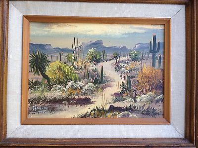 Rare, Signed Palencia Vintage Oil Painting Plein Air or Desert Landscape Framed