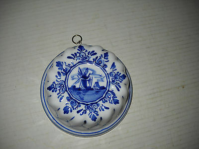 Lovely Blue & White Delft Jello Mold Wall Hanging
