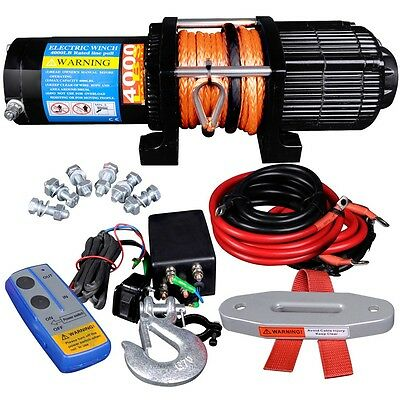 12V 4000LBS Electric Winch Wireless Remote Synthetic Wire ATV 4WD 4X4 Truck Boat