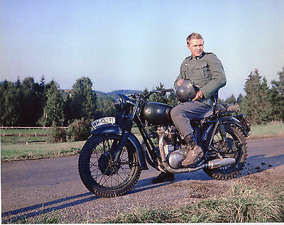 The Great Escape Steve Mcqueen On Motorcycle Dressed As German Soldier Rare!