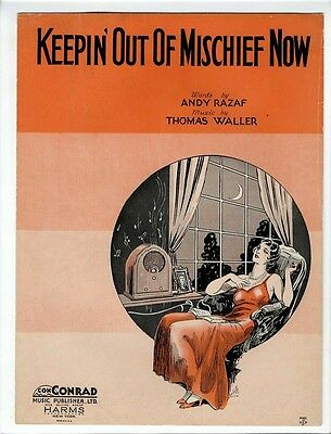 BLACK COMPOSER CLASSIC Sheet Music 1932 Keepin Out Of Mischief Now FATS WALLER