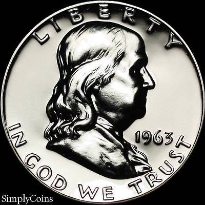 1963 Franklin Half Dollar ~ GEM Proof Uncirculated ~ 90% Silver US Coin