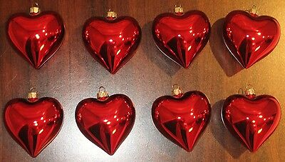 New SET OF 8 RED HEART ORNAMENTS VALENTINE'S DAY  SPRING  DECOR