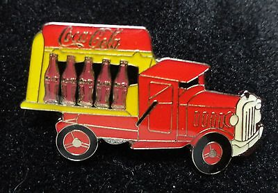 Coke Coca-Cola Antique Style Transportation Truck OPEN SIDED with BOTTLES Pin