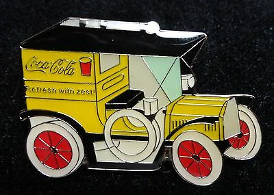 Coke Coca-Cola Antique Style YELLOW BLACK Transportation Delivery Truck Car Pin