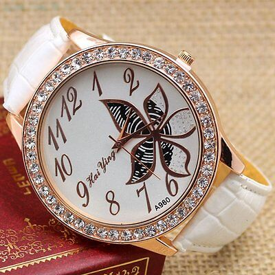 HOT Charm Flower Big Dial Quartz Wrist Watch Crystal Leather Band Women's Gifts