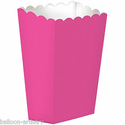 10 Cinema Solid BRIGHT PINK Treat Party LARGE Candy Favour Popcorn Boxes