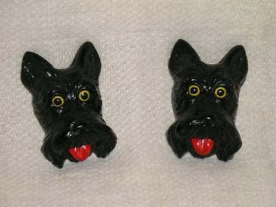 Antique Pair Vintage Scotty Dog ScottishTerrier Wall Plaques Cute Aged Red