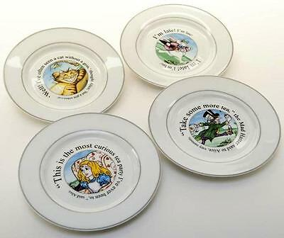 "New Paul Cardew Alice in Wonderland 8"" accent salad dessert plate set of 4"