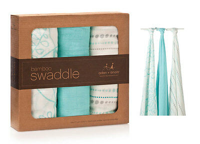 New Aden & Anais 3 Swaddle Aden and Anais Blankets Azure Bamboo Authentic