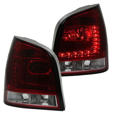 LED Rückleuchten Klarglas Set in 6R Look VW Polo 9N3 Bj. 05-09 Rot/Chrom
