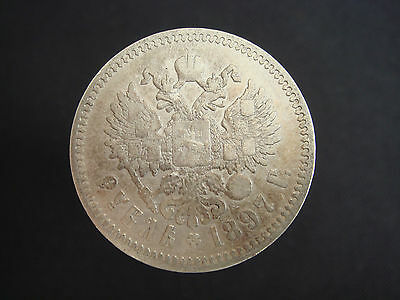 Russian Empire 1897 SILVER (AG) Nicholas II 1 Ruble Rouble Rubel Coin Nr 5351